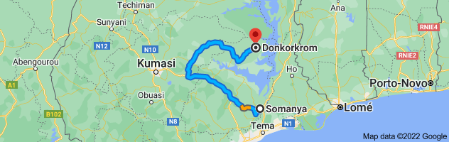 Map from Somanya to Donkorkrom