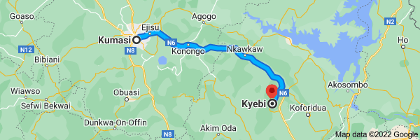 Map from Kumasi to Kyebi